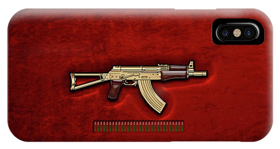 'the Armory' Collection By Serge Averbukh IPhone X Case featuring the photograph Gold A K S-74 U Assault Rifle With 5.45x39 Rounds Over Red Velvet  by Serge Averbukh
