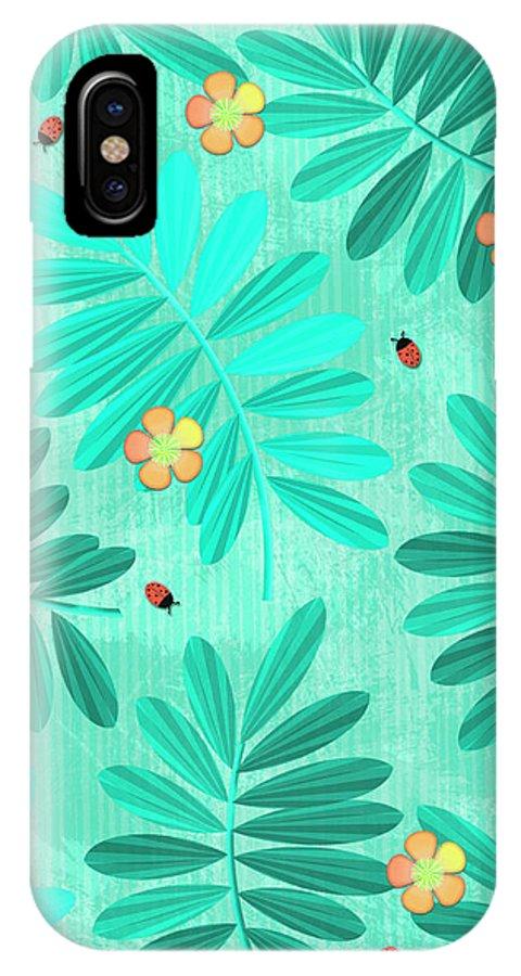 Lemur IPhone X Case featuring the digital art L Is For Lemur And Lark by Valerie Drake Lesiak