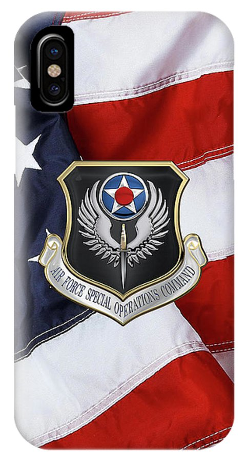 Air Force Special Operations Command - A F S O C Shield Over American Flag  IPhone X Case