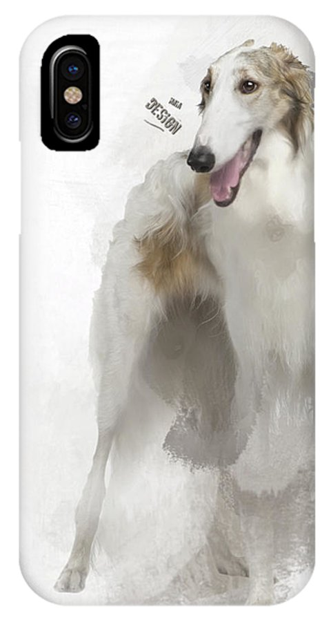 Imia Design IPhone X Case featuring the digital art Adorable Borzoi by Maria Astedt