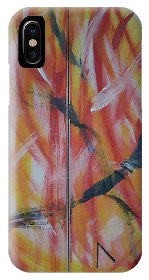 Canvas IPhone X Case featuring the painting El Diablo by Lucia Sirna