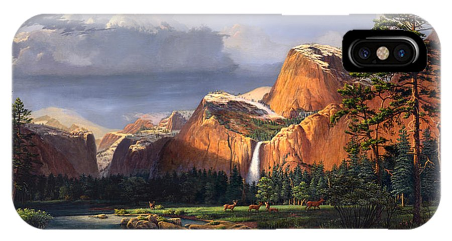 American IPhone X / XS Case featuring the painting Deer Meadow Mountains Western Stream Deer Waterfall Landscape Oil Painting Stormy Sky Snow Scene by Walt Curlee