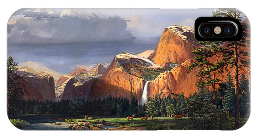 American IPhone X Case featuring the painting Deer Meadow Mountains Western stream Deer waterfall Landscape Oil Painting stormy sky snow scene by Walt Curlee