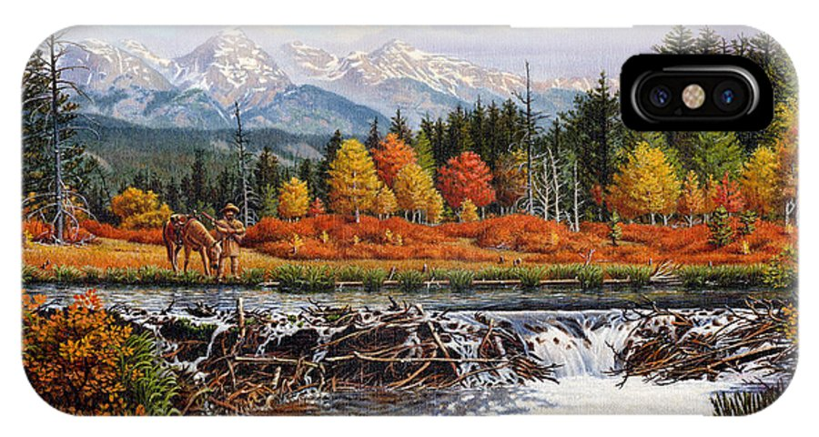 Western Mountain Landscape IPhone X / XS Case featuring the painting Western Mountain Landscape Autumn Mountain Man Trapper Beaver Dam Frontier Americana Oil Painting by Walt Curlee