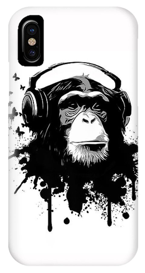 Ape IPhone X Case featuring the digital art Monkey Business by Nicklas Gustafsson