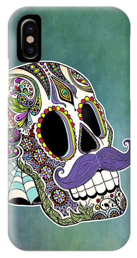Sugar Skull IPhone X Case featuring the digital art Mustache Sugar Skull by Tammy Wetzel