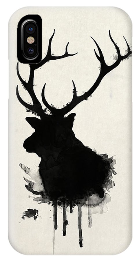 Elk IPhone X Case featuring the drawing Elk by Nicklas Gustafsson