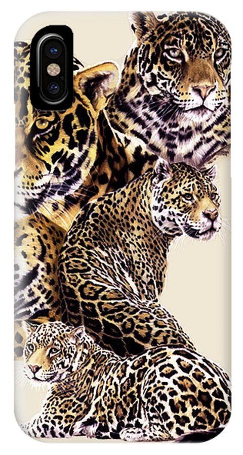Jaguar IPhone X / XS Case featuring the drawing Burn by Barbara Keith