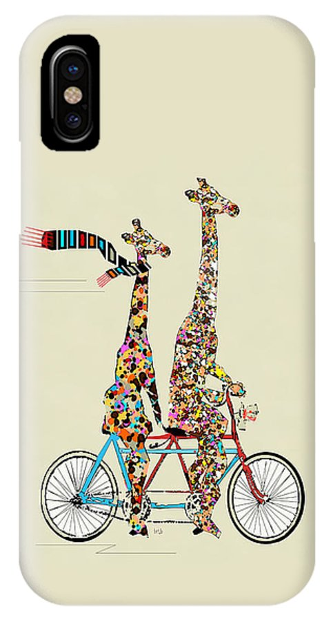 Giraffes IPhone X Case featuring the painting Giraffe Days Lets Tandem by Bri Buckley