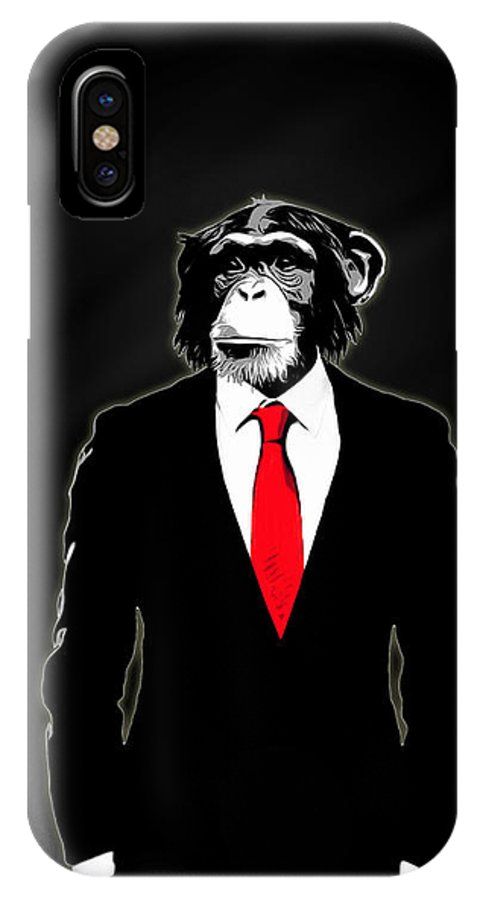Monkey IPhone X Case featuring the painting Domesticated Monkey by Nicklas Gustafsson