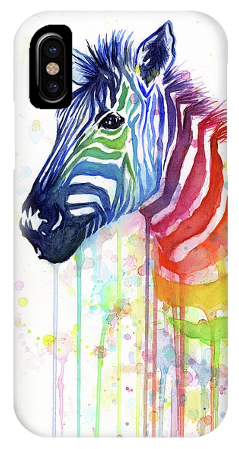 Rainbow IPhone X Case featuring the painting Rainbow Zebra - Ode to Fruit Stripes by Olga Shvartsur