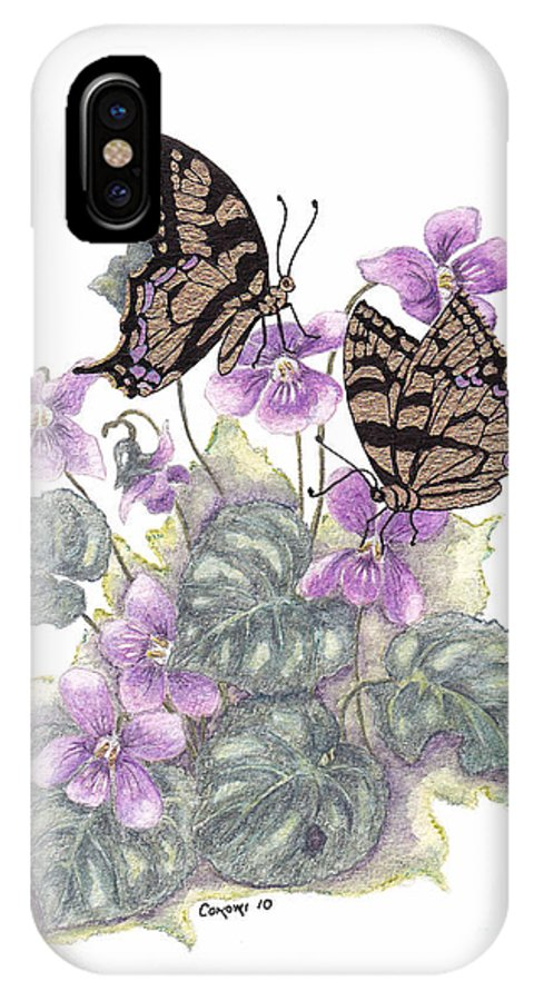 Violets IPhone X Case featuring the painting As Close To The Flowers by Stanza Widen