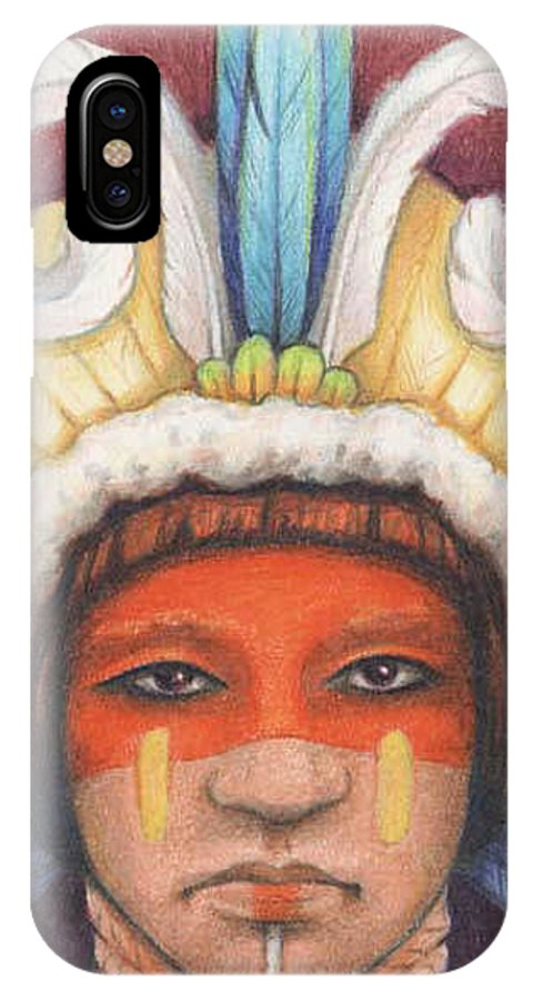 Indian IPhone X Case featuring the drawing As My Ancestors by Amy S Turner