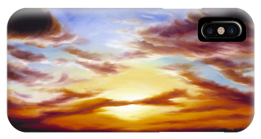 Skyscape IPhone X Case featuring the painting As The Sun Sets by James Christopher Hill