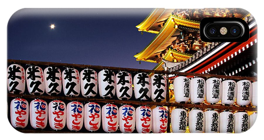 Japanese IPhone X Case featuring the photograph Asakusa Kannon Temple Pagoda And Lanterns At Night by Christine Till