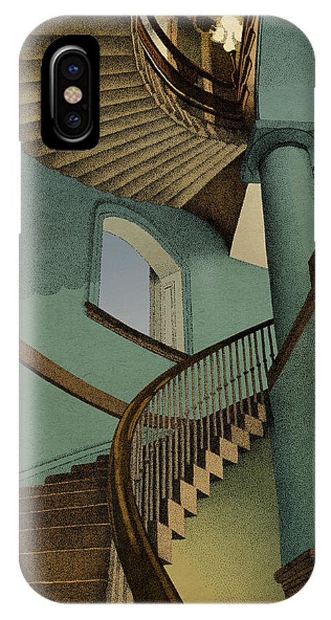 Stairs Architecture IPhone X Case featuring the drawing Ascending by Meg Shearer