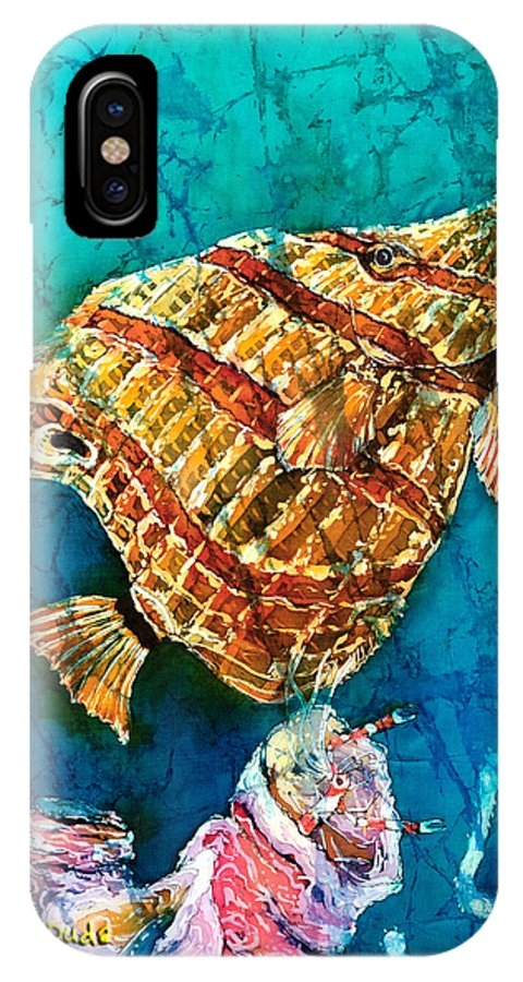 Beaked Butterflyfish IPhone X Case featuring the painting Ascending by Sue Duda