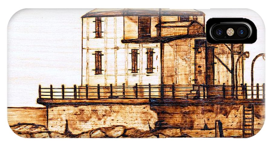 Lighthouse IPhone Case featuring the pyrography Ashtabula Harbor by Danette Smith