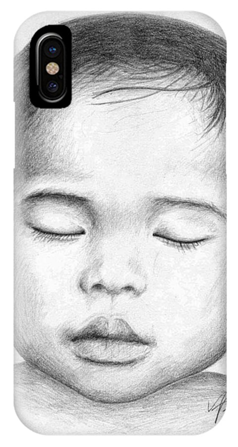 Baby IPhone X Case featuring the drawing Asian Baby by Nicole Zeug