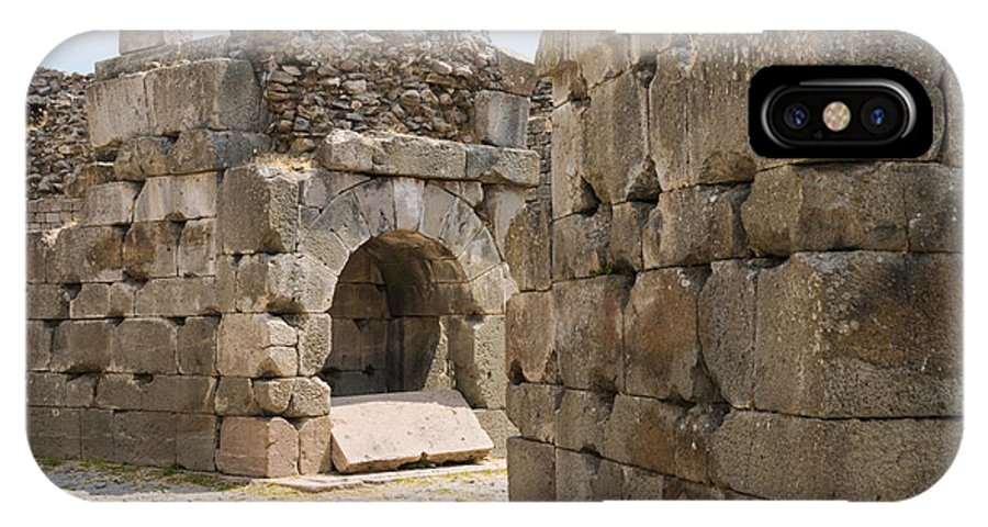 Bergama Pergamon Turkey Asklepion Ancient Asklepios Temple Ruins Temples Ruin Stone Stones Architecture Structures Structures Landmark Landmarks Place Of Worship Places Of Worship IPhone X Case featuring the photograph Asklepios Temple Ruins by Bob Phillips