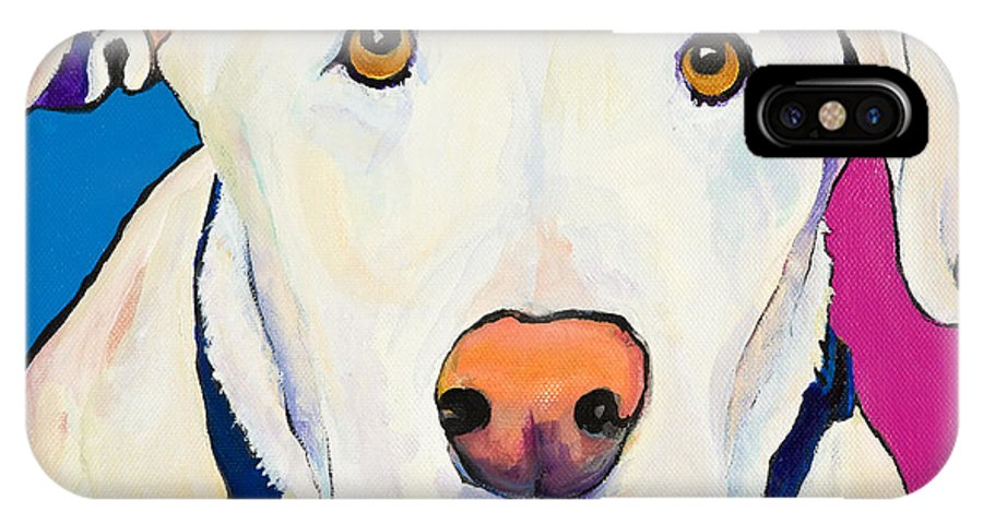 White Lab Yellow Lab Animal Paintings Golden Eyes Square Format Dogs Pets Rescued IPhone Case featuring the painting Aslinn by Pat Saunders-White
