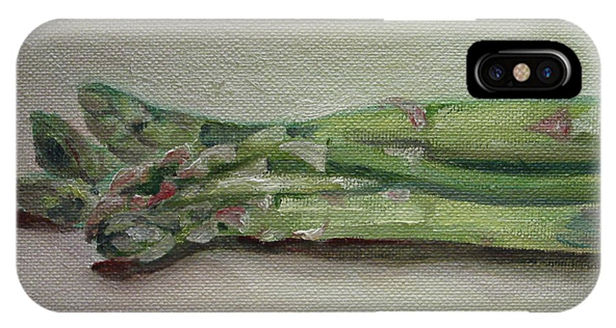 Food IPhone X Case featuring the painting Asparagus by Sarah Lynch