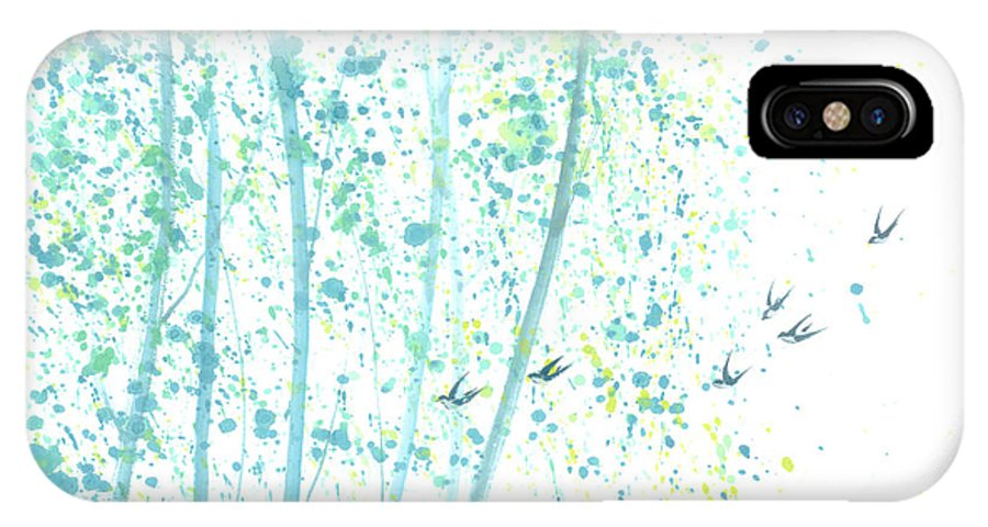 Birds Flying Through An Aspen Forest. This Is A Contemporary Chinese Ink And Color On Rice Paper Painting With Simple Zen Style Brush Strokes. IPhone X Case featuring the painting Aspen Forest by Mui-Joo Wee