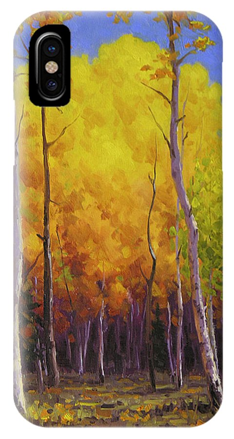 Landscape IPhone X Case featuring the painting Aspen Glow by Cody DeLong