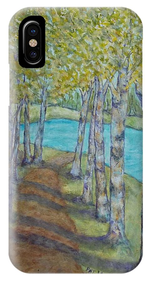 Landscape IPhone X Case featuring the painting Aspen Path by Patricia Voelz