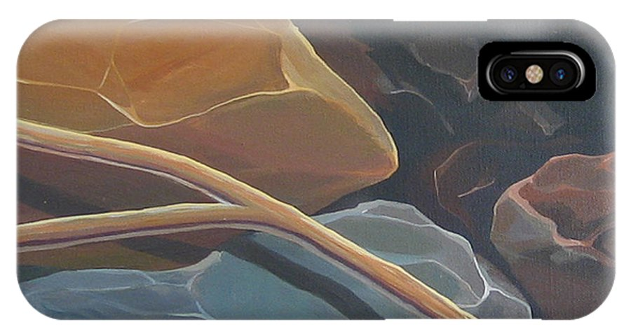 Branch IPhone X Case featuring the painting Aspen Rain Branch by Hunter Jay