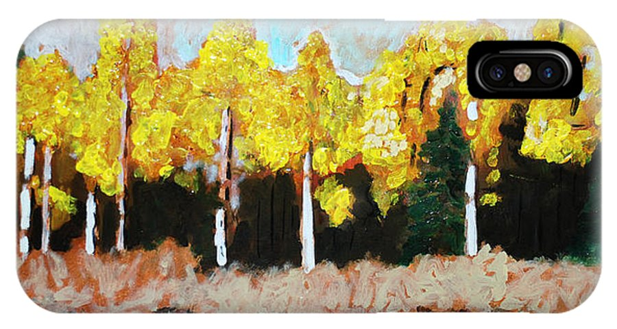 Fall IPhone X Case featuring the painting Aspens by Kurt Hausmann
