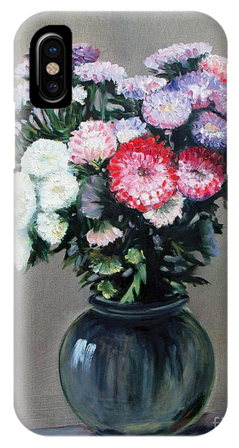 Flowers IPhone X Case featuring the painting Asters by Paul Walsh