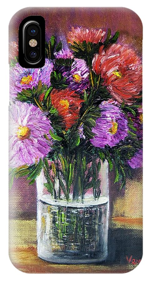 Still Life IPhone X Case featuring the mixed media Asters by Vesna Martinjak