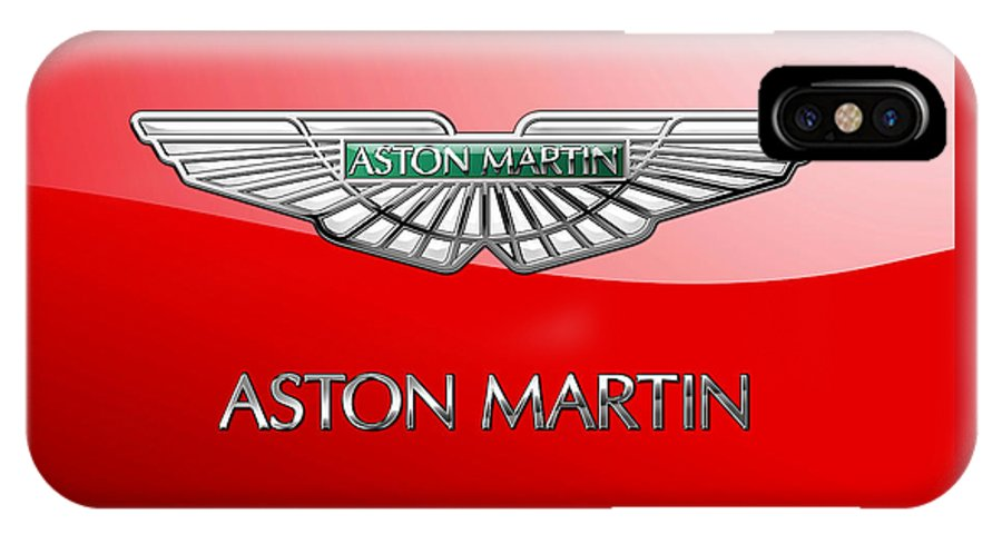 Wheels Of Fortune� Collection By Serge Averbukh IPhone X Case featuring the photograph Aston Martin - 3 D Badge On Red by Serge Averbukh
