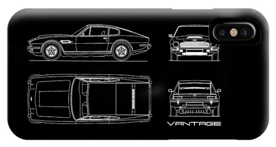los angeles f9712 03788 Aston Martin V8 Vantage Blueprint IPhone X Case