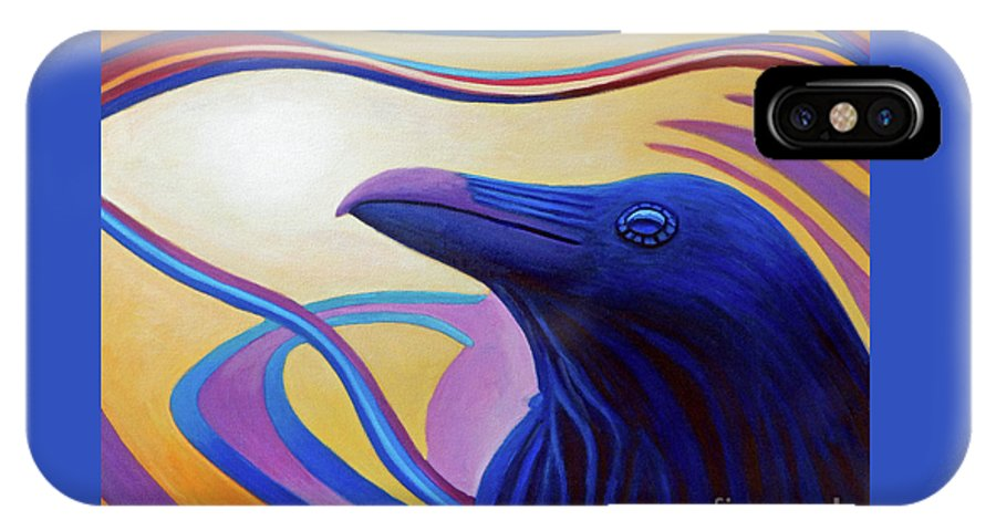 Raven IPhone X Case featuring the painting Astral Raven by Brian Commerford