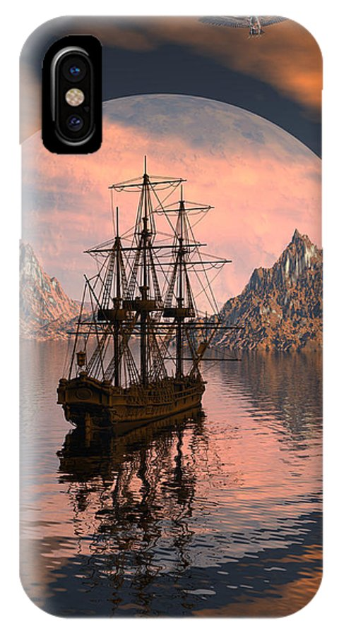 Bryce 3d Digital Fantasy Scifi Windjammer Sailing IPhone X Case featuring the digital art At Anchor by Claude McCoy