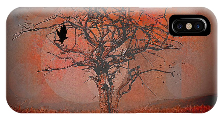 Dusk IPhone X Case featuring the digital art at Dusk by Mimulux patricia No