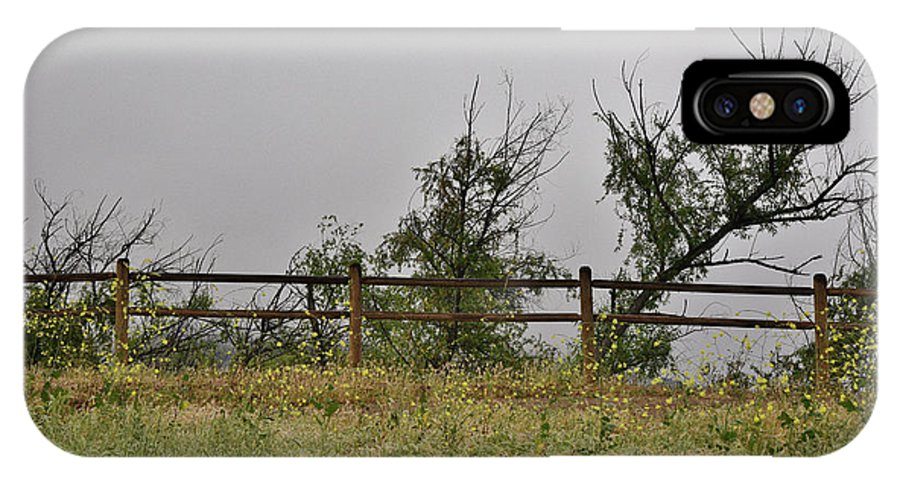 Linda Brody IPhone X Case featuring the photograph At Peters Canyon In The Rain 1 by Linda Brody