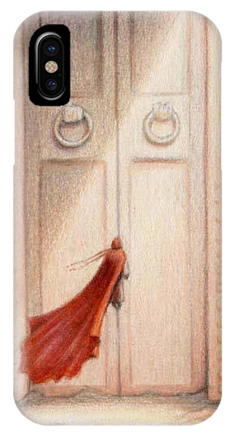 Magic IPhone X Case featuring the drawing At The Door by Amy S Turner