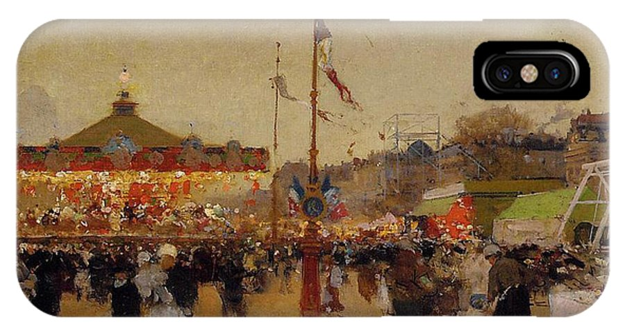 At The Fair (oil On Canvas) By Luigi Loir (1845-1916) Fair; Fairground; Fete; Carousel; Merry-go-round; Figures; Crowd; Crowds; France; French; Flag; Flags; Tricolour; Impressionist; Impressionism; Attraction IPhone X Case featuring the painting At The Fair by Luigi Loir