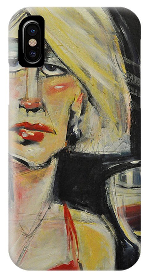 Woman IPhone X Case featuring the painting At The Gala - Reprise by Tim Nyberg