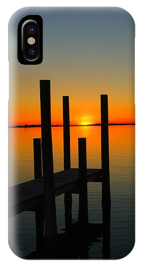 Sunset IPhone Case featuring the photograph At The Pier by Judy Waller