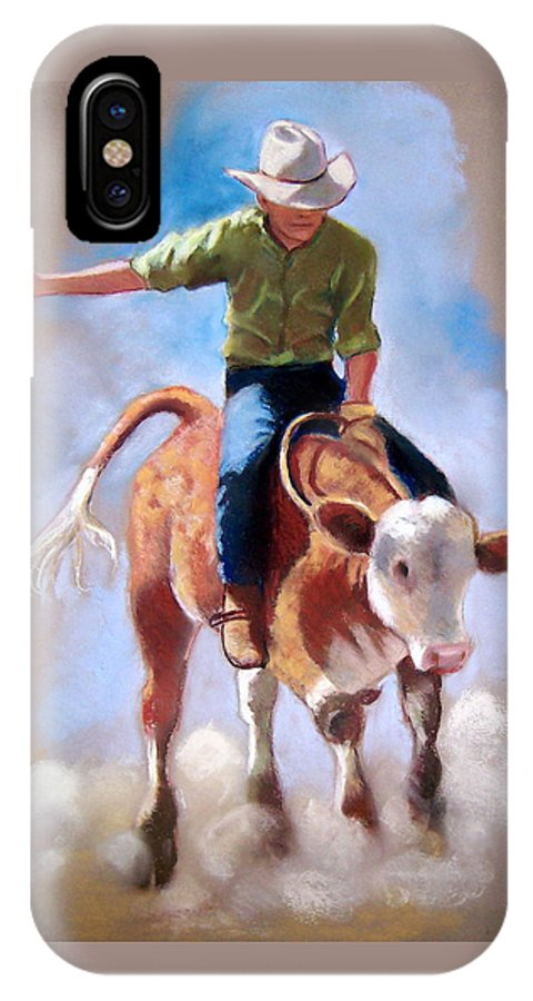 Rodeo IPhone Case featuring the pastel At The Rodeo by Joyce Geleynse
