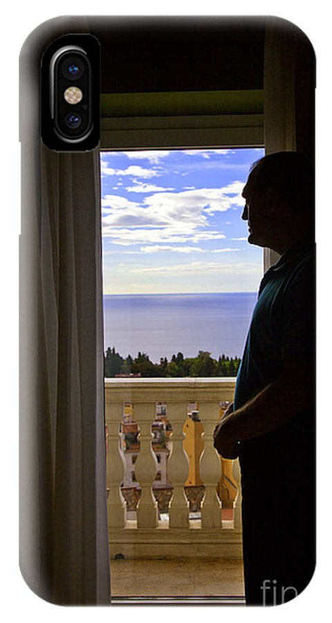 Window IPhone X Case featuring the photograph At The Window In Taormina by Madeline Ellis