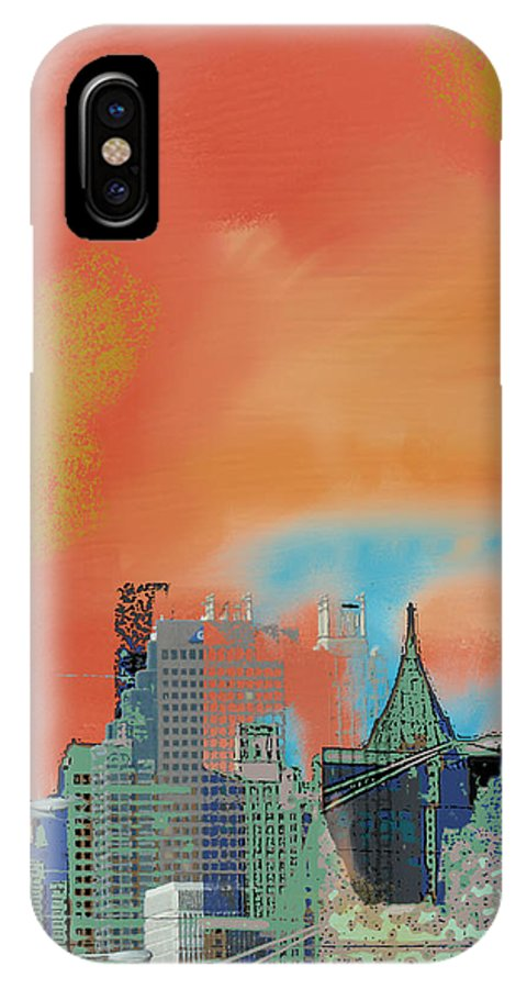 Atlanta IPhone X Case featuring the mixed media Atlanta Abstract After the Tornado by Ann Tracy