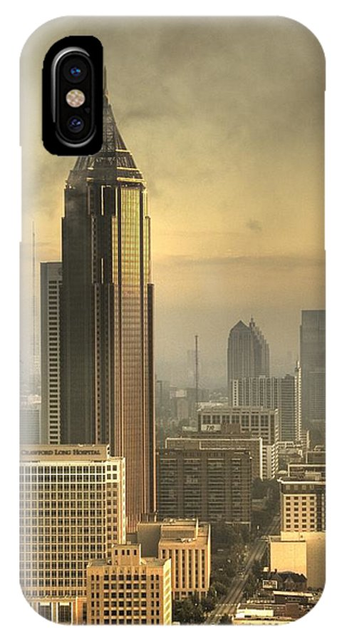 Atlanta IPhone X Case featuring the photograph Atlanta Skyline At Dusk by Robert Ponzoni