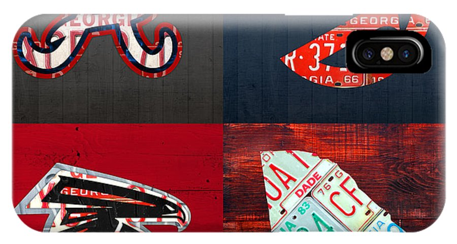 Atlanta IPhone X Case featuring the mixed media Atlanta Sports Fan Recycled Vintage Georgia License Plate Art Braves Hawks Falcons Plus State Map by Design Turnpike
