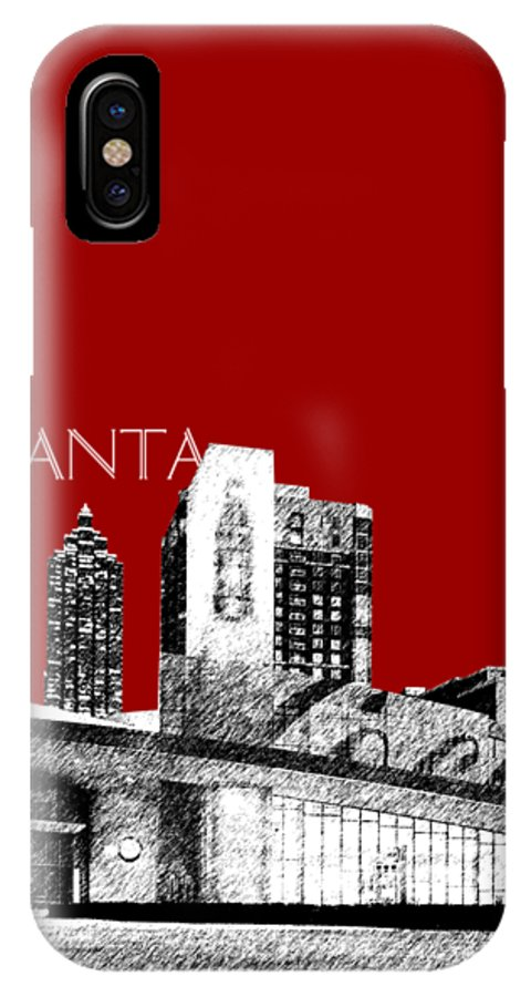 Architecture IPhone X Case featuring the digital art Atlanta World Of Coke Museum - Dark Red by DB Artist