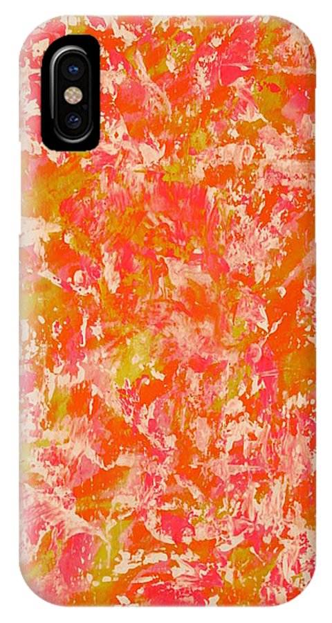 Painting-abstract Acrylic IPhone X Case featuring the painting Atmosphere In The Castle When The Princess Is In There by Catalina Walker